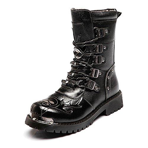 l Punk Shoes for Men's Shoes Up Block Leather Low Heel Mid Calf Combat Boots for Gentlemen (Color : Black, Size : 8.5 D(M) US) ()
