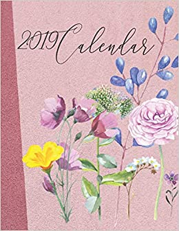 2019 Calendar Watercolour Flowers With Inspirational Quotes On Pink