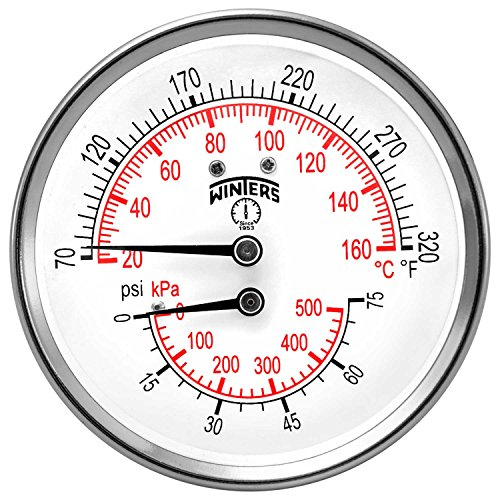 Winters TTD Series Steel Dual Scale Tridicator Thermometer with 2'' Stem, 0-75psi/kpa, 3'' Dial Display, ±3-2-3% Accuracy, 1/2'' NPT Back Mount, 70-320 Deg F/C by Winters Instruments