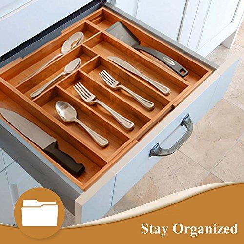 Utensil Drawer Organizer, Bamboo Silverware Organizer Expandable Kitchen Drawer Organizer Cutlery Tray. By: Bambüsi by Bambüsi (Image #6)