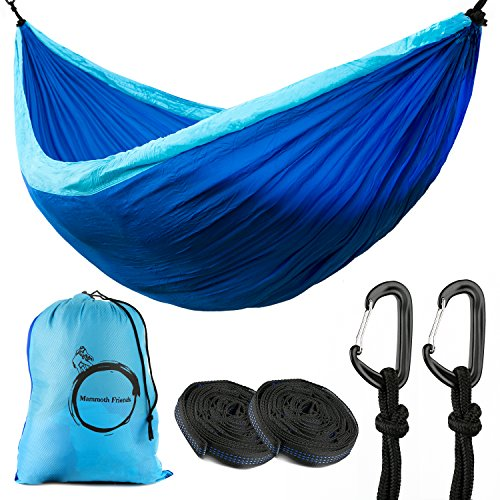 Full Set - Ripstop Double Camping Hammock with 360° Separate Mosquito Net, Carry Bag, Carabiners & Tree Straps Portable Compact Folding Camping Hammock by Mammoth Friends