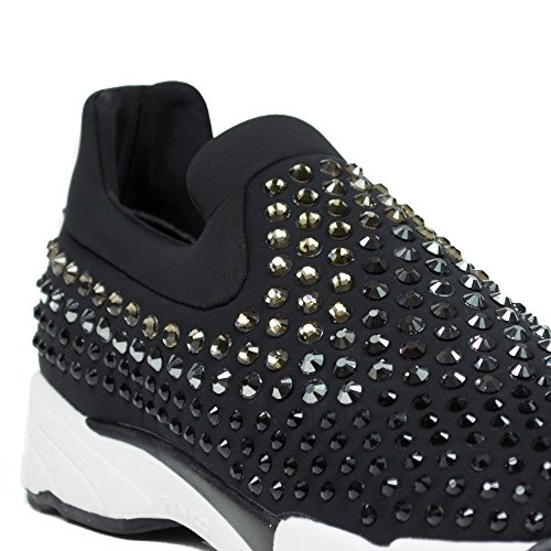 Scarpe Donna Sneakers PINKO Neoprene Strass Slip On Black Nero Shine Baby Nuove