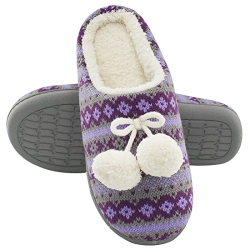 RockDove Pom Pom Holiday Sweater Knit Memory Foam Slippers For Women & Teens
