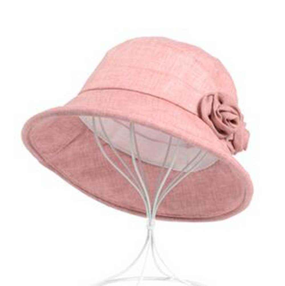 LOVEHATS Women Lace Decoration Cap Adult Summer Hat Anti-UV Breathable Beach Hats Foldable Fashion Sun Hat pink 56-58cm