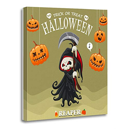 Emvency Painting Canvas Print Artwork Decorative Print Wooden Frame Costume Vintage Halloween Design with Reaper Character Candy Comic Monster Cape 20x30 Inches Wall Art for Home Decor
