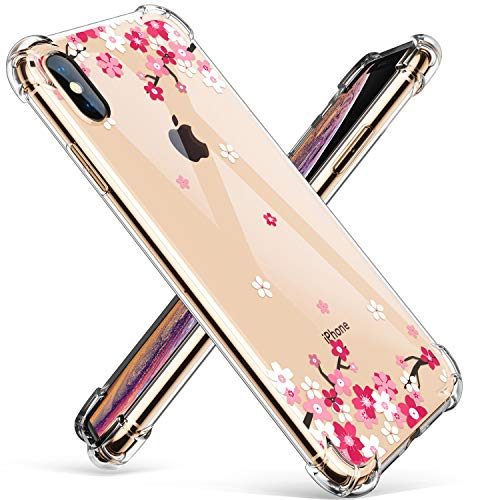 GVIEWIN Clear Case for iPhone Xs Max, Flower Pattern Design Soft & Flexible TPU Ultra-Thin Shockproof Transparent Floral Cover, Cases for iPhone Xs Max 6.5 Inch 2018 (Peach Blossom/Pink)