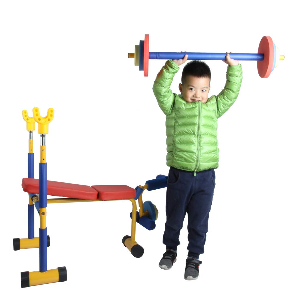 Akicon Kids Exercise Equipment - Adjustable Toy Weight Bench Set Workout Bench Press by Akicon (Image #5)
