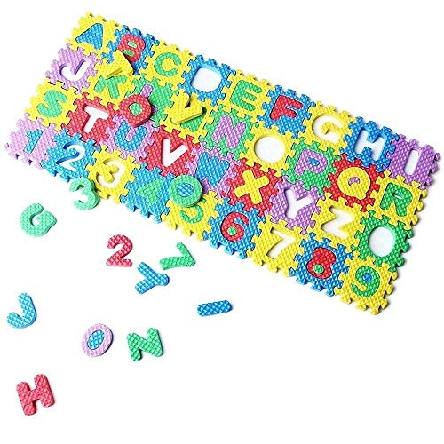 Eutuxia Alphabet Letters & Numbers Mini Puzzle Pieces for Building Blocks & Floor Play Mat. Fun and Colorful Educational Learning Toy for Toddlers, Babies, and Kids. Safe Non-Toxic EVA Foam. [36 Pcs] ()