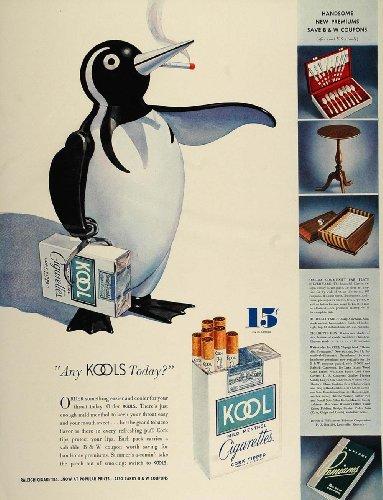 1936 Ad Kool Menthol Cigarettes Pack Penquin Smoking - Original Print Ad