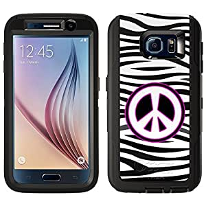 Skin Decal for Otterbox Defender Samsung Galaxy S6 Case - Peace on Zebra Print