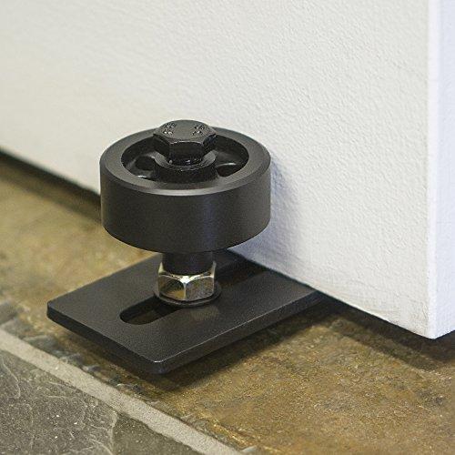 Adjustable black bottom roller guide for barn doors with for Sliding barn door rollers