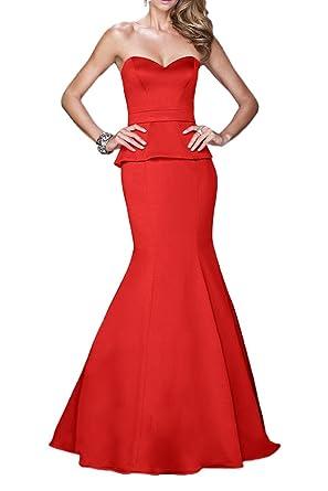 La Marie Braut Rot Schwarz Satin Herzausschnitt Meerjungfrau Abendkleider  Brautjungfernkleider Partykleider Lang Rock  Amazon.de  Bekleidung 8db68aafeb