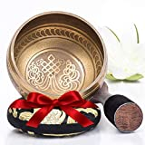 Silent Mind ~ Tibetan Singing Bowl Set ~ Bronze Mantra ~ Great For Mindfulness Meditation, Relaxation, Stress & Anxiety Relief, Chakra Healing, Yoga, Zen ~ Perfect Spiritual Gift
