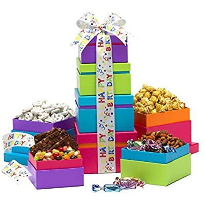 Broadway Basketeers Gift Tower, Happy Birthday Wishes by Broadway Basketeers