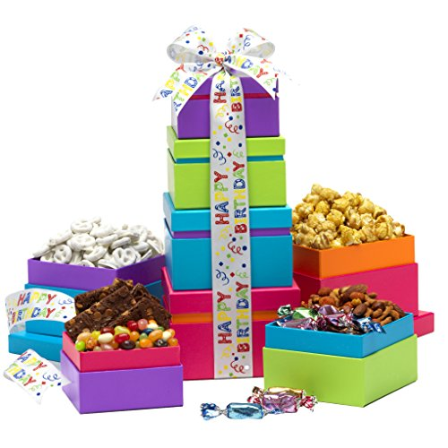 (Broadway Basketeers Gift Tower, Happy Birthday Wishes)