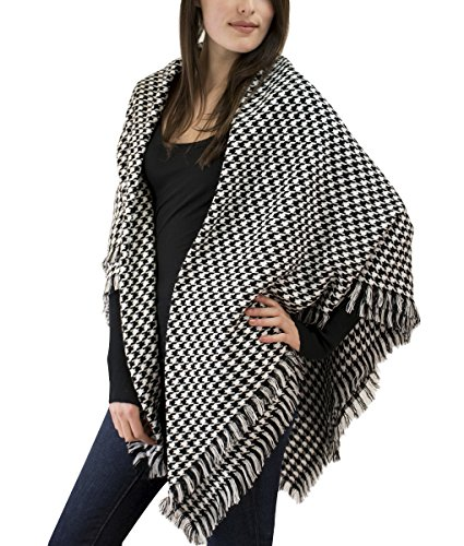 Modadorn Special Sale Fall Winter Check Houndstooth Woven Wrap Shawl (Blanket BLACK) (Pink Check Houndstooth)