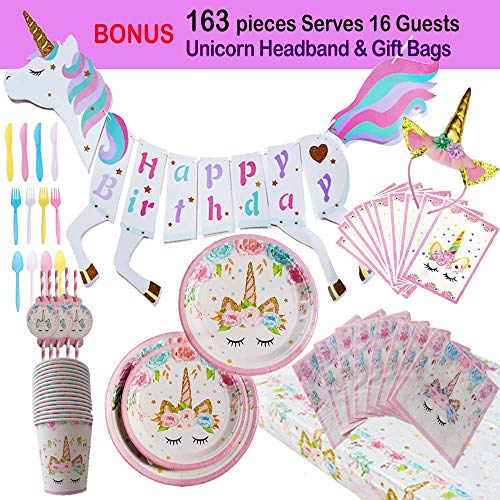 Unicorn Party Supplies Birthday Decorations for Girls Serves 16 - Paper Plates/Cups/Plastic Cutlery/Tablecloth/Napkins/Pink Stripe Straws/Hanging Happy Bday Banner/Bonus Unicorn HeadBand & Gift Bags