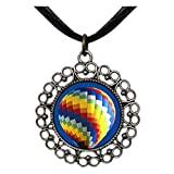 GiftJewelryShop Ancient Style Silver Plate Travel Hot Air Balloon Floral Hoop Pendant Pendants