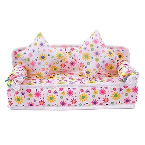 DierCosy Lovely Mini Furniture Flower Sofa Couch with 2 Cushions Kit Set for Barbie Doll House Accessories Kids Toy Gift