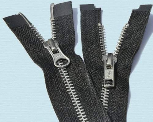 36\ Jacket Zipper YKK #5 \2-way\ Aluminum ~ Separating~ YKK Color 580 Black (1 Zipper/pack)
