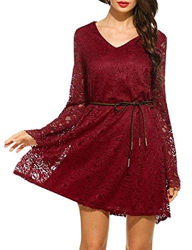Plus Sexy Women Dress Mini Lace Coolred Elegent Red Size Hem Summer Wine Beach 6AqwSx54