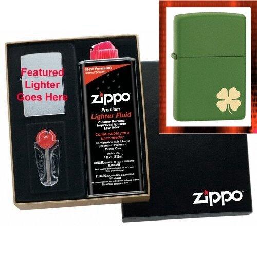 """""""Lucky Shamrock"""" Zippo Lighter Gift Set"""