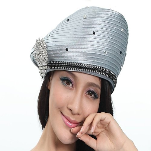Women Girl Church Hat Satin Hat Formal Dress Beret Women Church (Silver grey)