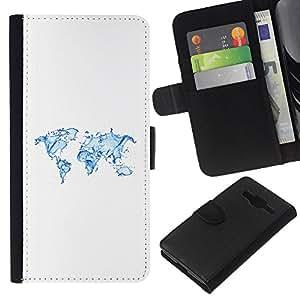 KLONGSHOP // Tirón de la caja Cartera de cuero con ranuras para tarjetas - Continentes Tierra Agua Planeta Arte Océano - Samsung Galaxy Core Prime //