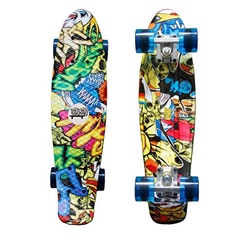 DINBIN Complete Highly Flexible Plastic Cruiser Board Mini 22 Inch Skateboards for Beginners or Professional with High Rebound PU Wheels (220 Pounds) (Reflex Abec Bearings)