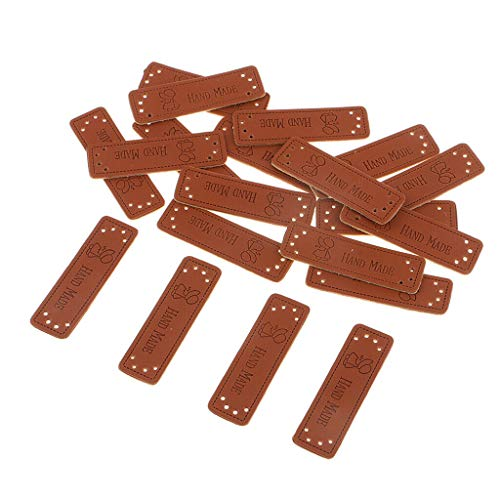 20pcs Vintage PU Leather Synthetic Handmade Label Tags Sew Craft Patches 5#