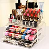 Display4top Jewellery Storage Box Acrylic Cosmetics Lipsticks Makeup Organizer Holder Box (4 Drawers Clear C)