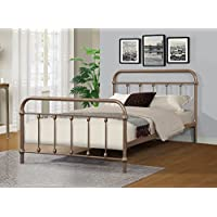 Merax Stylish Design Solid Metal Platform Bed Frame Mattress Foundation with Headboard and footboard, Bronze (Full)