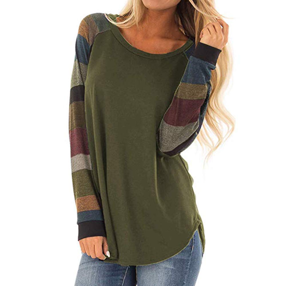 Women's Casual Stripe T-Shirt, Long Sleeve Tunic Tops Round Neck Loose Comfy Tops (L, Army Green)