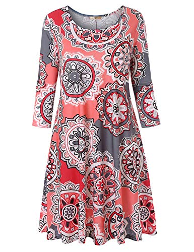 Luranee Modest Dresses for Women, Womens 3/4 Sleeve Knee Length Lularoe T Shirt Dress with Pockets Round Neck Pleated Front Nice Chic Comfy Lightweight A-Line Day Wear Long Tunics Pink-Grey Medium