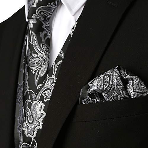 (MAGE MALE Men's 3pc Paisley Floral Jacquard Vest Waistcoat Necktie Pocket Square Set for Suit or Tuxedo Silver)