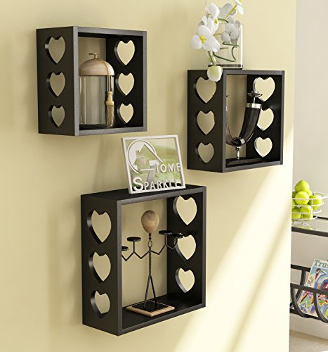 Home Sparkle 3 Cube Wall Shelves Engineered Wood  Black