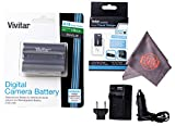 Vivitar EN-EL3E Ultra High Capacity Rechargeable 1900mAh Li-ion Battery + AC/DC Vivitar Rapid Travel Charger + Microfiber Lens Cleaning Cloth ENEL3E EL3E (Nikon EN-EL3E Replacement)