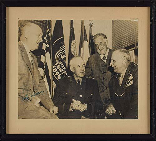 (WW II GENERAL Omar Bradley & Montgomery of Alamein autographs, signed vintage photo framed )