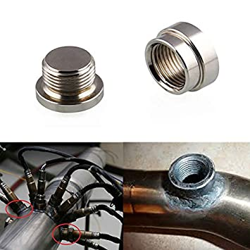 ZREAL Sensor de oxígeno O2 Soldadura de Acero Inoxidable en el tapón y tapón Kit de Tuerca y Tapa de Banda Ancha: Amazon.es: Coche y moto