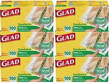 6-Pack Glad Zipper Food Storage Sandwich Bags (100 Count)