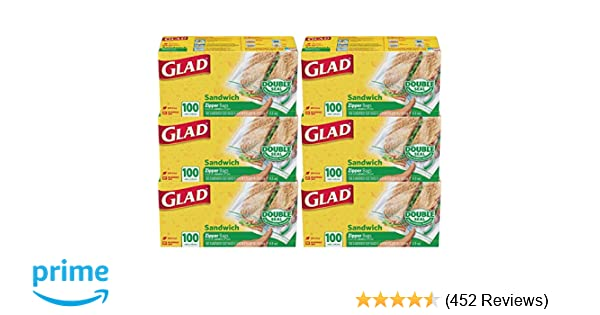 Glad Zipper Food Storage Sandwich Bags - 100 Count - 6 Pack