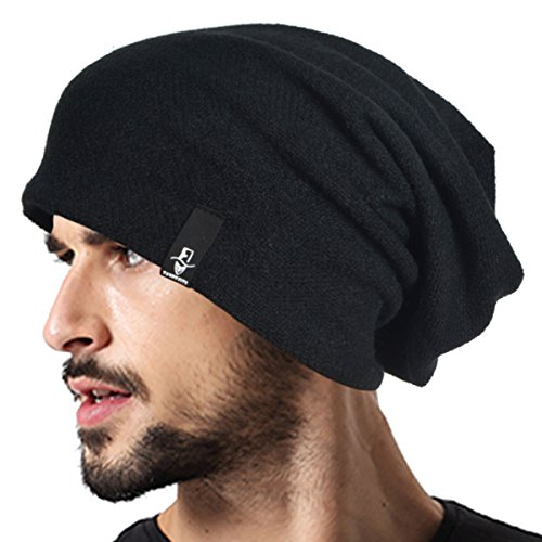 VECRY Men's Cool Cotton Beanie Slouch Skull Cap Long Baggy Hip-hop Winter Summer Hat B305 (B305-Black)