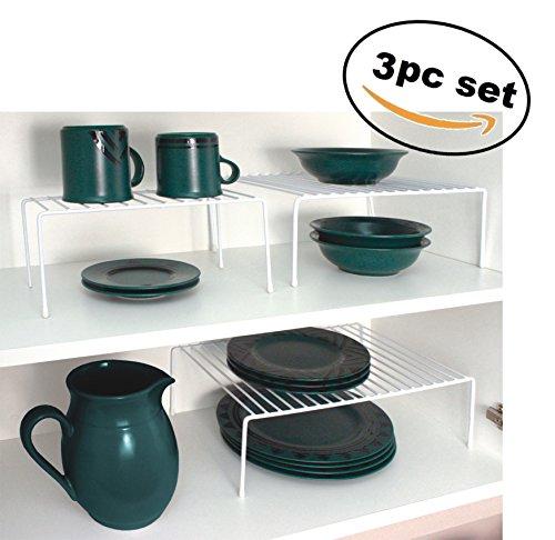 Deluxe 3pc Cabinet Shelf Organizers Racks, White by Elaine Karen
