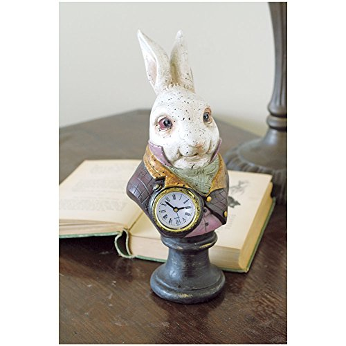 Alices In Wonderlands White Rabbit Resin Desk Clock - Resin White Clock