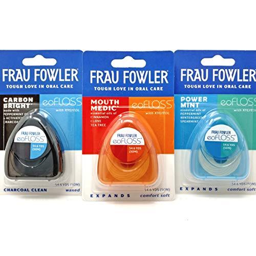 Frau Fowler eoFLOSS Dental Floss- Infused with Organic Essential Oils, 50m (54.6yds) each