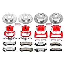 4 ALl 06-11 Mercury Milan Detroit Axle - 06-13 Mazda 6 - 07-12 Lincoln MKZ Front and Rear Drilled and Slotted Disc Brake Rotors w//Ceramic Pads w//Hardware for 06-12 Ford Fusion -