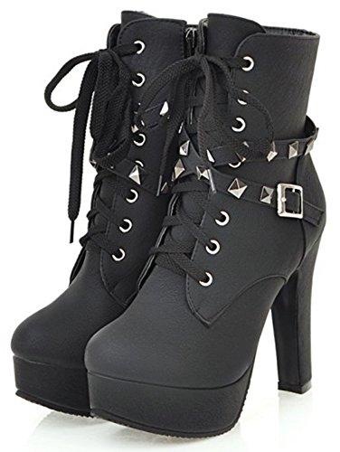 Mofri Women's Stylish Studded Rivets Buckle Cross Strap Side Zipper Ankle Booties High Chunky Heel Platform Lace up Short Boots