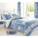 MOROCCAN PATCHWORK BLUE GREY CANADIAN QUEEN SIZE (230CM X 220CM - UK KING SIZE) REVERSIBLE COTTON BLEND COMFORTER COVER SET