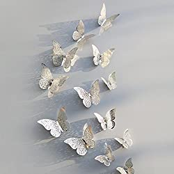 Vacally 12pcs 3D Wall Stickers Wallpaper Butterfly Design Fridge Decal Art Living Room Bedroom Background Home Decor (Silver 2)