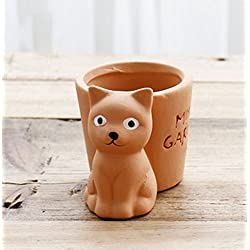 YOURNELO Cute Animal Small Flower Plant Pots Succulent Planters Vase (Cat)